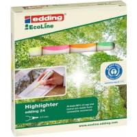 Edding e-24 EcoLine Highlighter Chisel Tip Assorted Ref 4-24-4 Pack 4