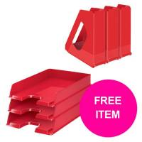 Rexel Choices Letter Trays A4 x3  Mag Files x3 PP Red Bundle Offer  FREE Matador Stapler Jan-Mar 20