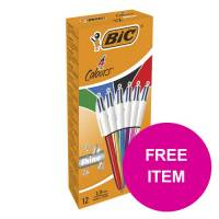 Bic 4 Colours Shine Ballpoint Pen Medium Assorted Ref 964775 Pack 12 FREE Post It Notes Jan-Mar 2020