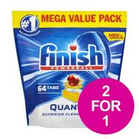 Finish Quantum Dishwasher Powerball Tablets All-in-1 Lemon Ref RB791158 Pack 64 2 for 1 Jan-Mar 2020