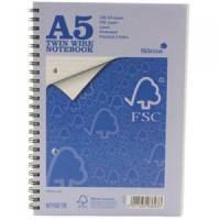 Silvine FSC Notebook Wirebound 56gsm Ruled Perforated 160pp A5 Ref FSCTWA5 Pack 5