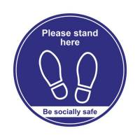400mm Floor Sign Stand Here Blue