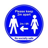 400mm Floor Sign Keep 2m Apart Blue