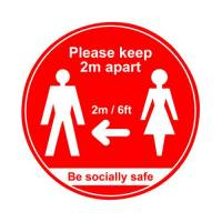 400mm Floor Sign Keep 2m Apart Red