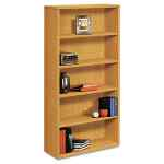 Image for 10500 Series Laminate Bookcase, Five-Shelf, 36w X 13-1/8d X 71h, Harvest