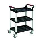 Image for Barton Black and Silver 3 Shelf Standard Plastic Trolley White WHTT3SS
