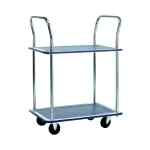 Image for Barton Silver and Blue 2 Shelf Trolley With Chrome Handles PST2