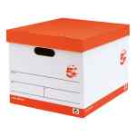 Image for 5 Star Office FSC Storage Box With Lid Self-Assembly Red & White [Pack 10]