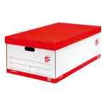 Image for 5 Star Office Jumbo Storage Box Red & White FSC [Pack 5]
