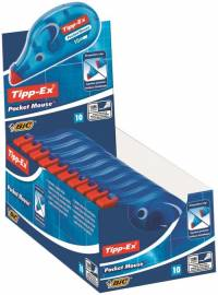 Tipp-Ex Pocket Mouse Correction Tape Roller Disposable 4.2mmx10m Ref 8207891 Pack 10