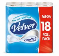 Velvet Comfort Toilet Rolls 116x104.5mm 210 Sheets 24.4m 2-ply White Ref 1102048 Pack 18