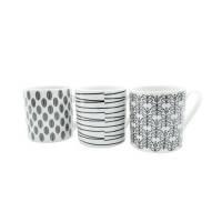 Squat Mugs Dot  Stripes 11oz Black  White Ref 0399352 Pack 12