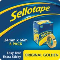 Sellotape Original Golden Tape Roll Non-static Easy-tear Large 24mmx66m Ref 1443306 Pack 6 REDEMPTION
