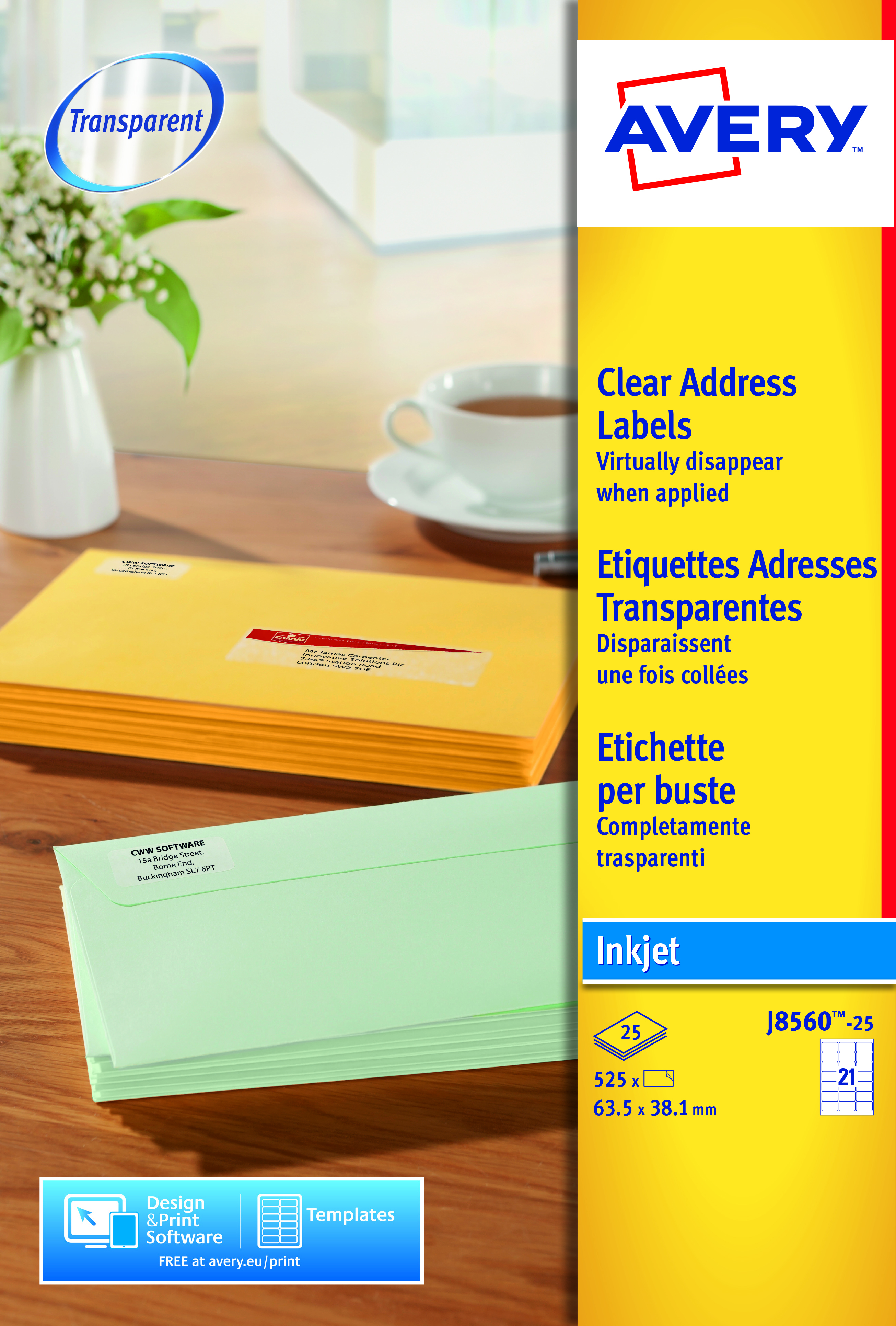 Avery Clear Addressing Labels Laser 21 per Sheet 63.5x38.1