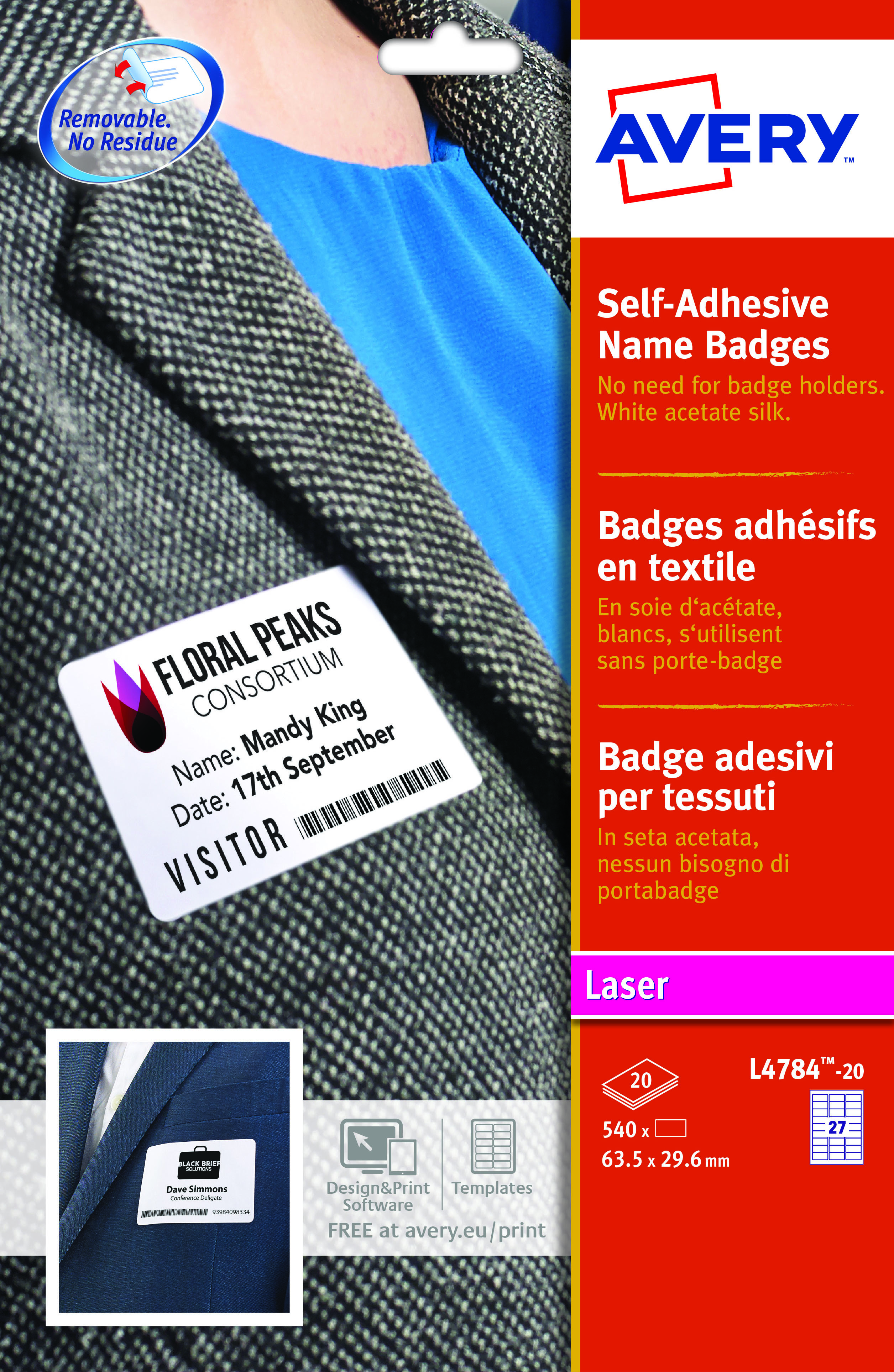 Avery Name Badge Labels Laser Self-adhesive 63 5x29 6mm