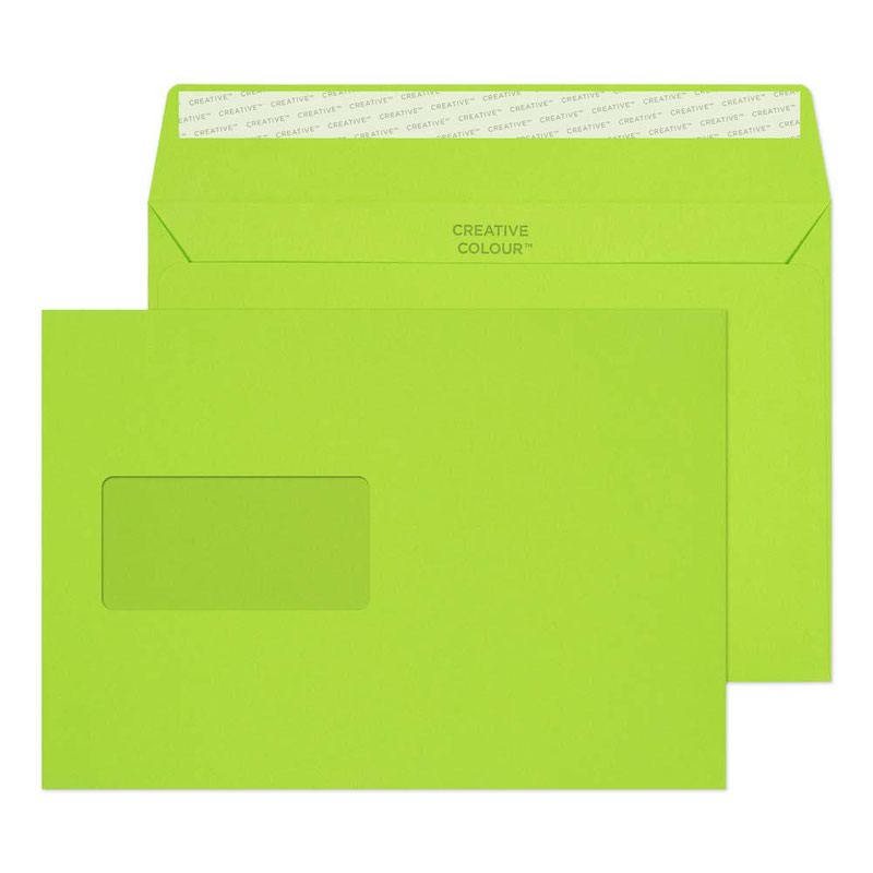 Creative Colour Wallet P S Window 120gsm C5 162x229mm Lime Green Ref 307w Pk500 3to5 Day Leadtime