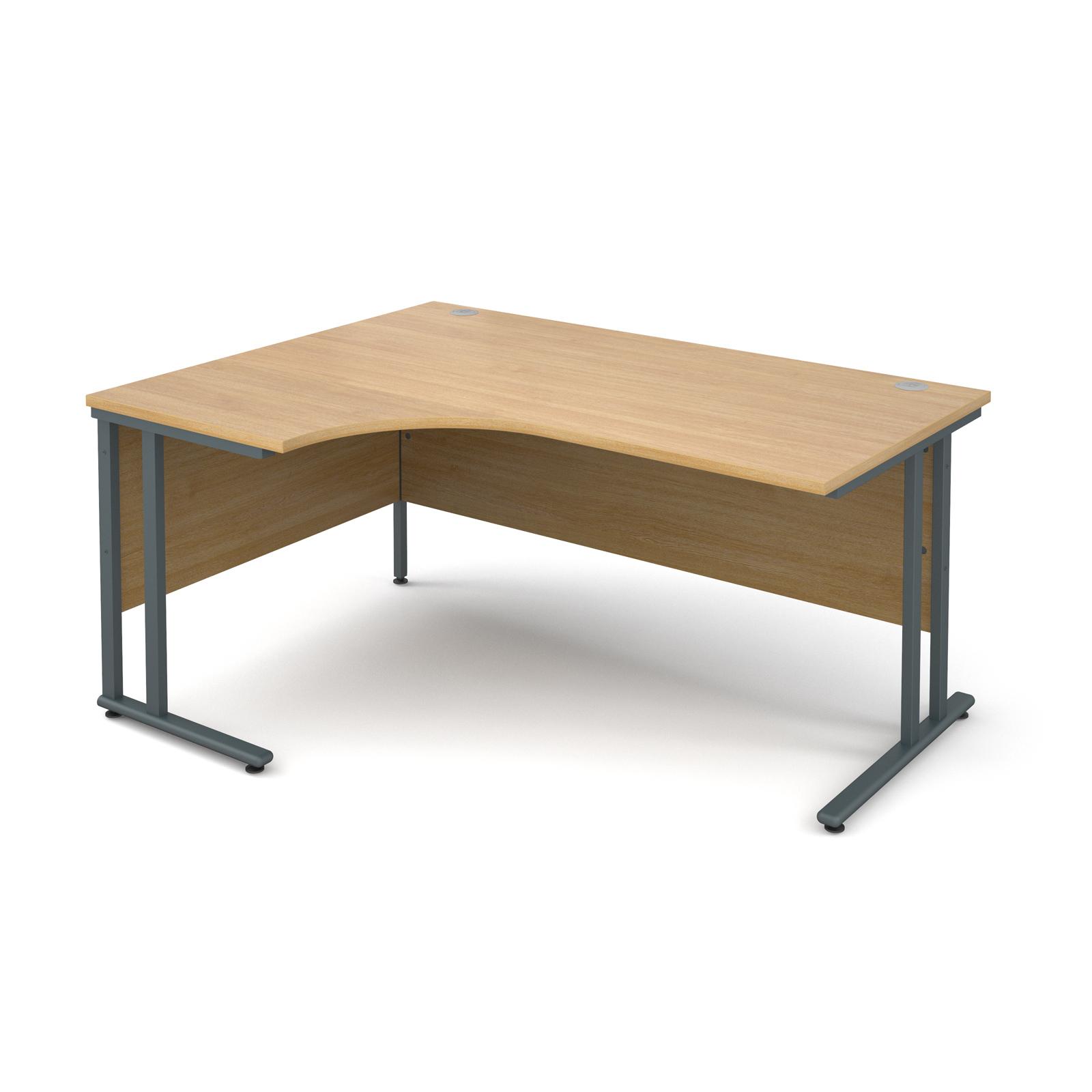 Maestro 25 Gl Left Hand Ergonomic Desk 1600mm Graphite Cantilever Frame Oak Top