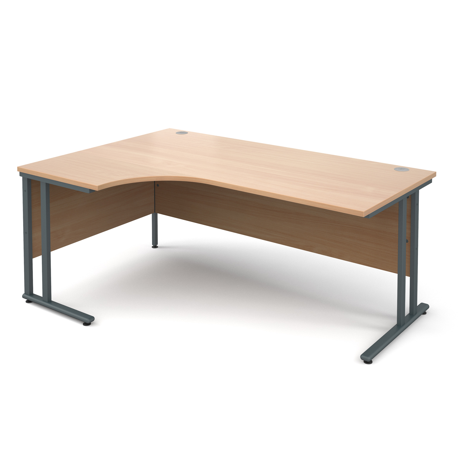 Maestro 25 Gl Left Hand Ergonomic Desk 1800mm Graphite Cantilever Frame Beech Top