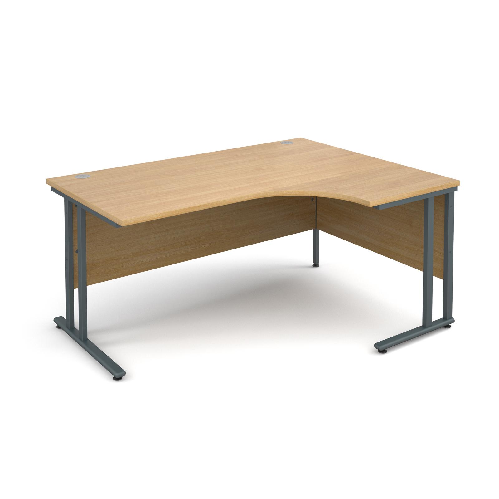 Maestro 25 Gl Right Hand Ergonomic Desk 1600mm Graphite Cantilever Frame Oak Top Stakelum Office Supplies Stationery Ireland School Books