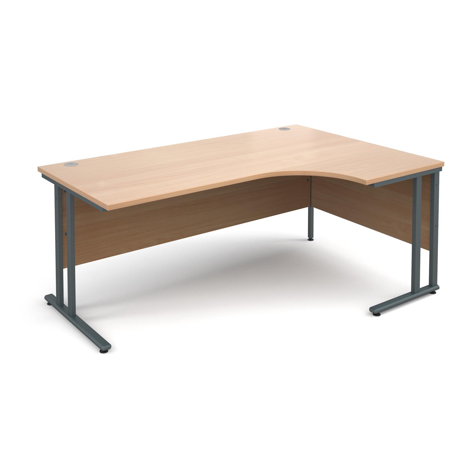 Maestro 25 Gl Right Hand Ergonomic Desk 1800mm Graphite Cantilever Frame Beech Top
