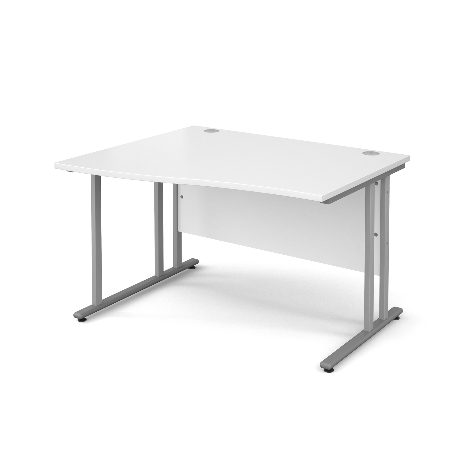 Maestro 25 Sl Left Hand Wave Desk 1200mm Silver Cantilever Frame White Top