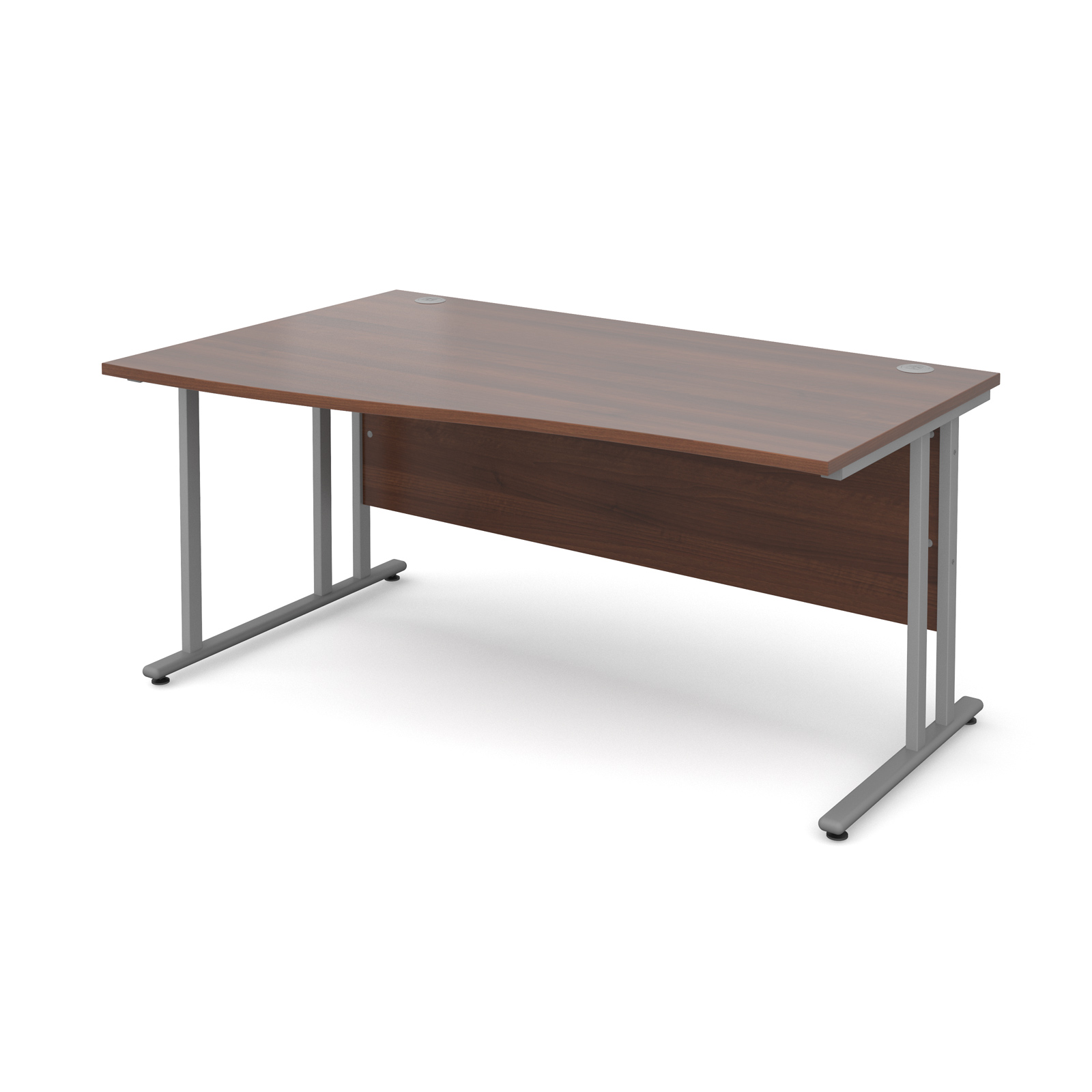 Maestro 25 Sl Left Hand Wave Desk 1600mm Silver Cantilever Frame Walnut Top