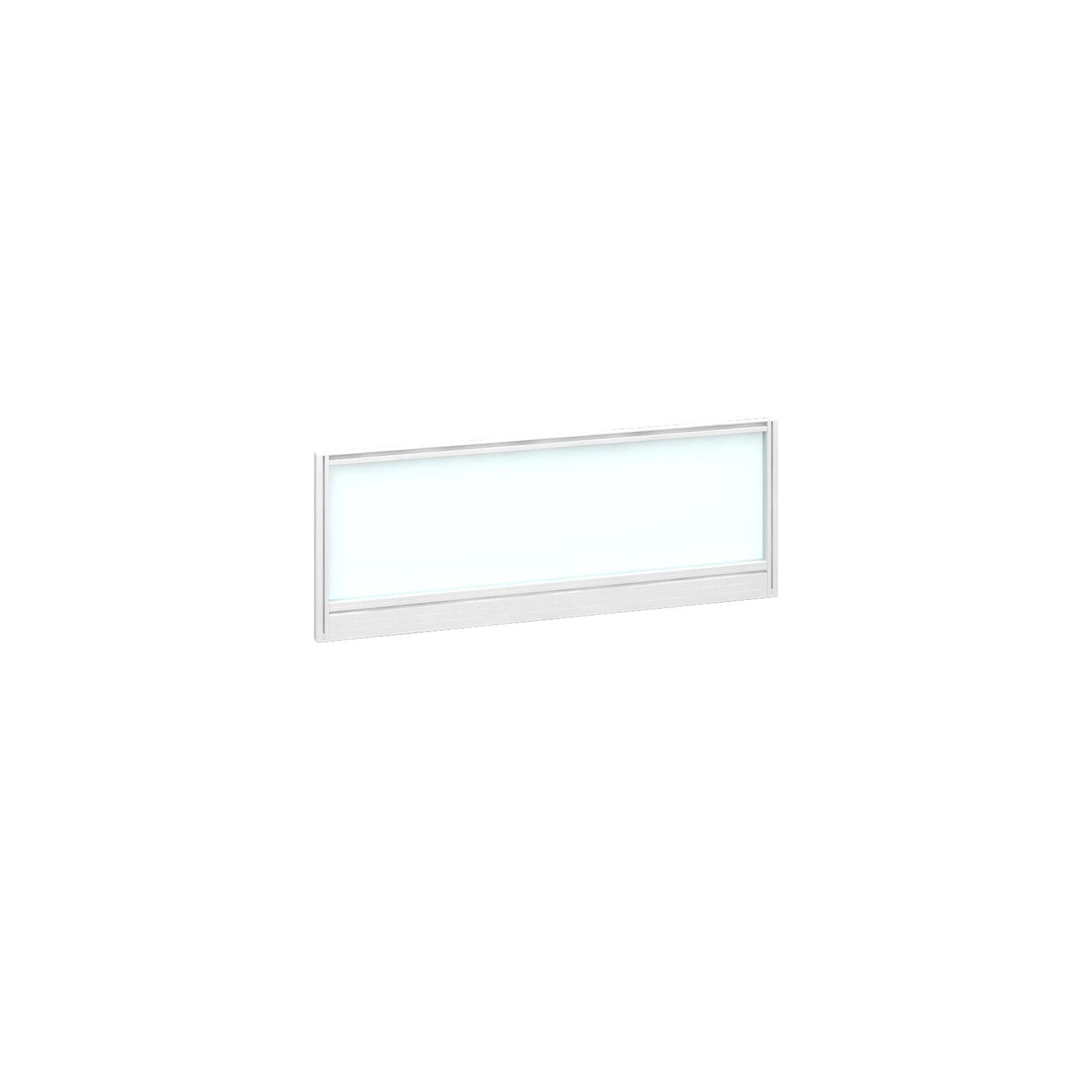 Straight glazed desktop screen 1000mm x 380mm - polar white with ...