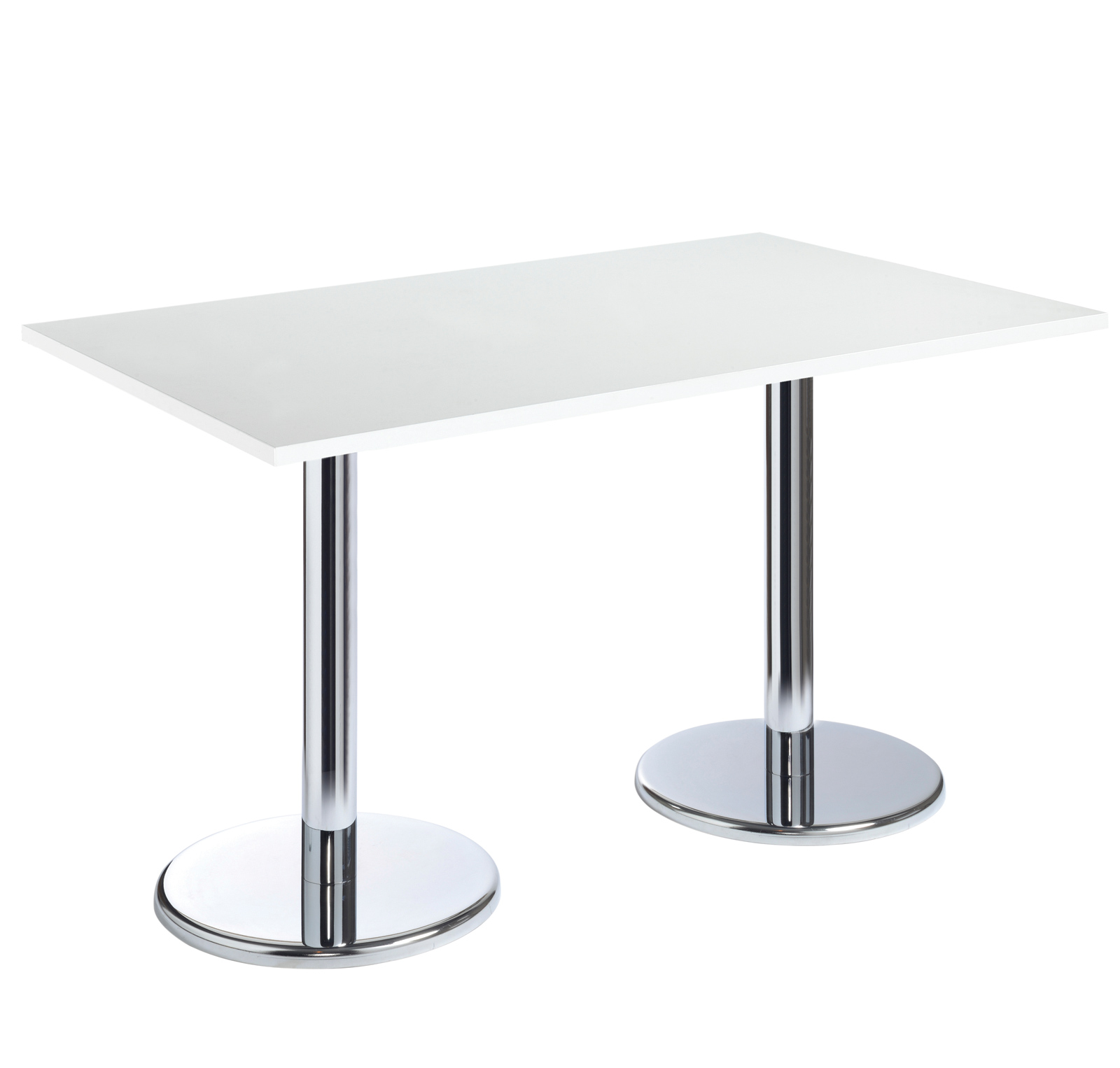 Pisa Rectangular Table With Round Chrome Base 1600mm X 800mm   White