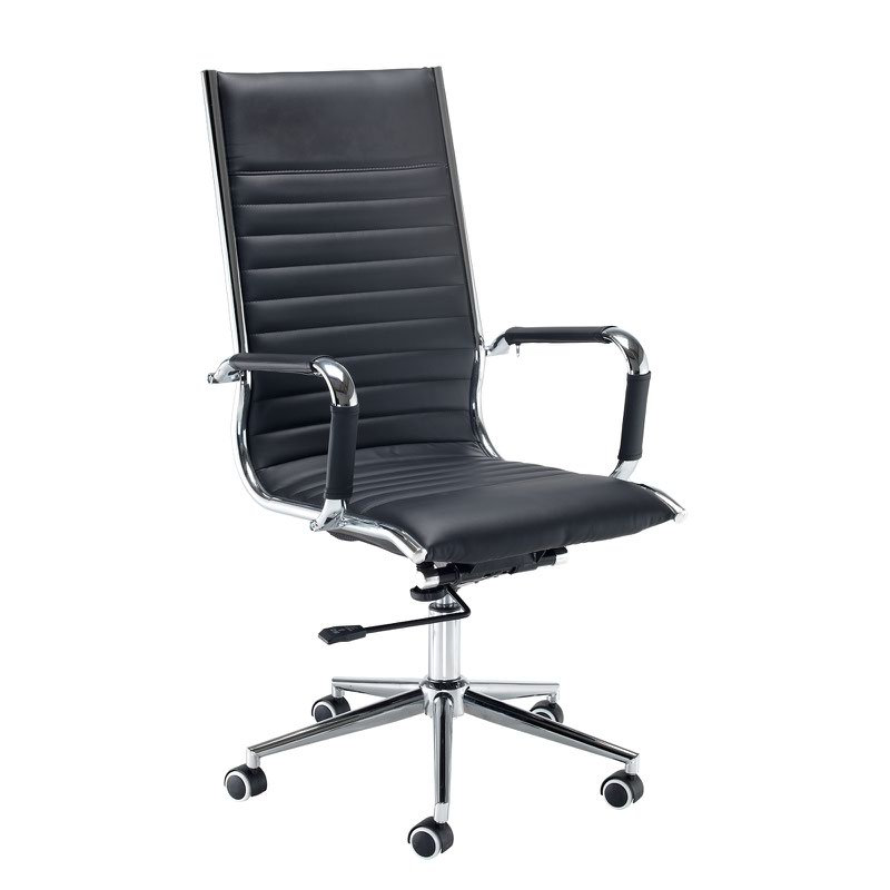 Bari High Back Executive Chair  Black Faux Leather