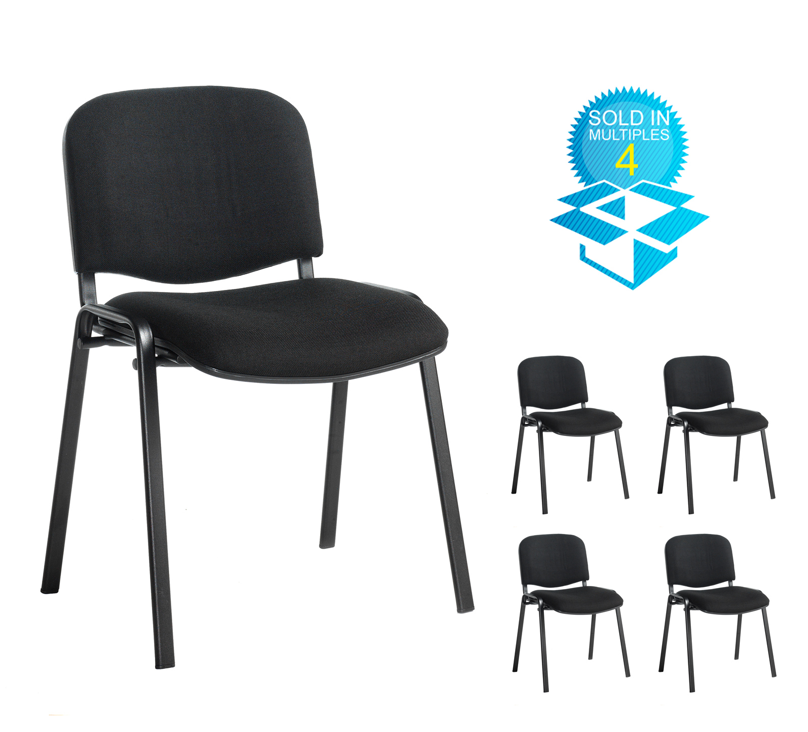 Box of 4 taurus black frame stacking chairs with black fabric