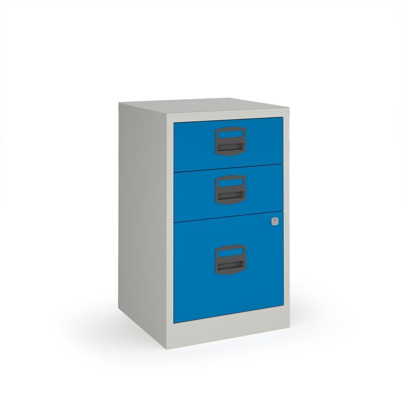 Bisley A4 Home Filer With 3 Drawers   Grey With Blue Drawers