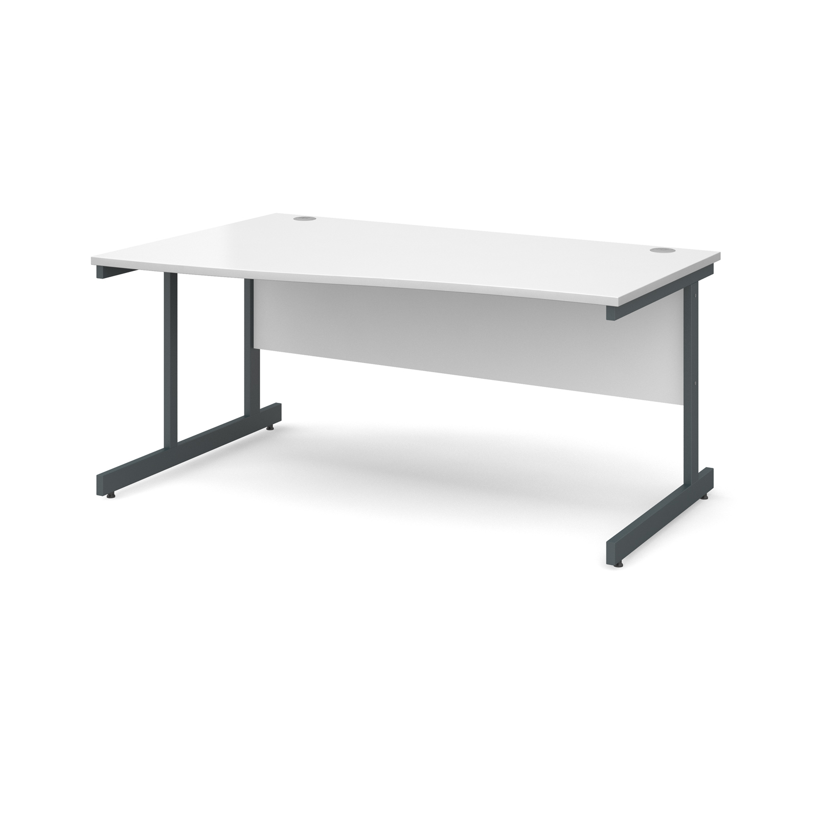Contract 25 Left Hand Wave Desk 1600mm Graphite Cantilever Frame White Top