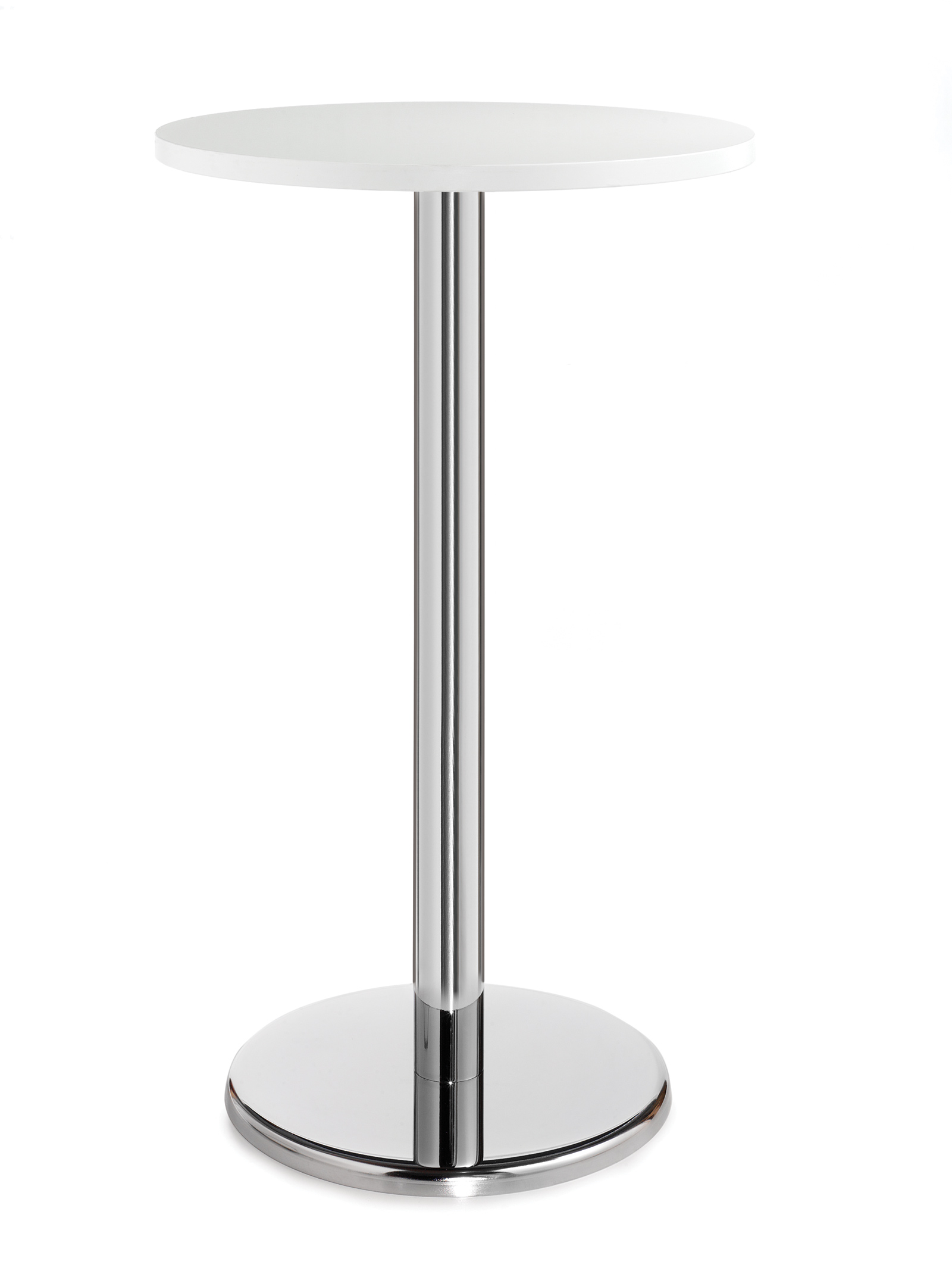 Pisa 800mm Diameter Round Poser Table White And Chrome. Width 800mm; Depth  800mm; Height 1110mm. 25mm MFC White Top With Chrome Column And Base Plate.