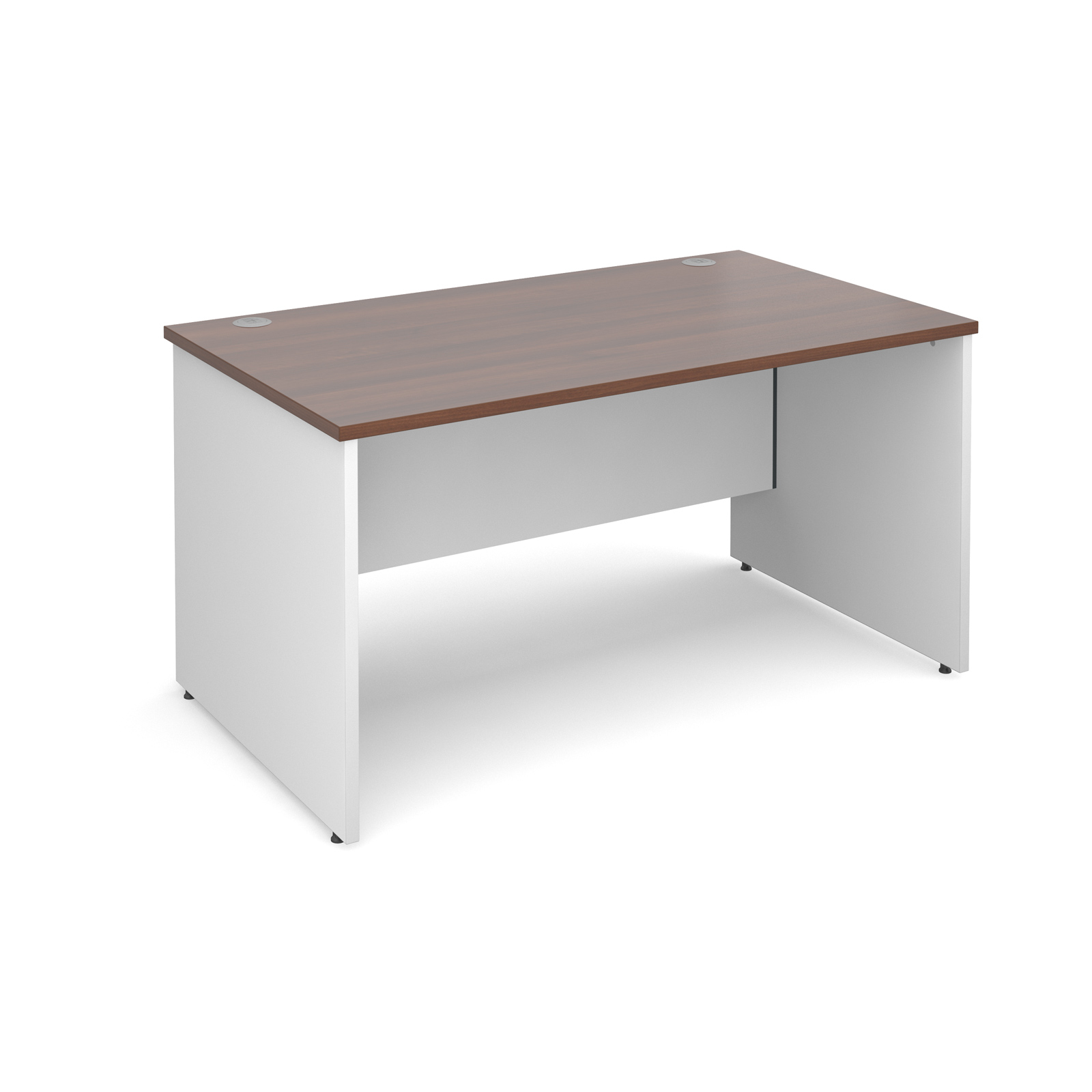 Duo Panel End Desk 1400 Wide X 800 Deep Walnut Tops With White Legs 25mm Top 18mm Back
