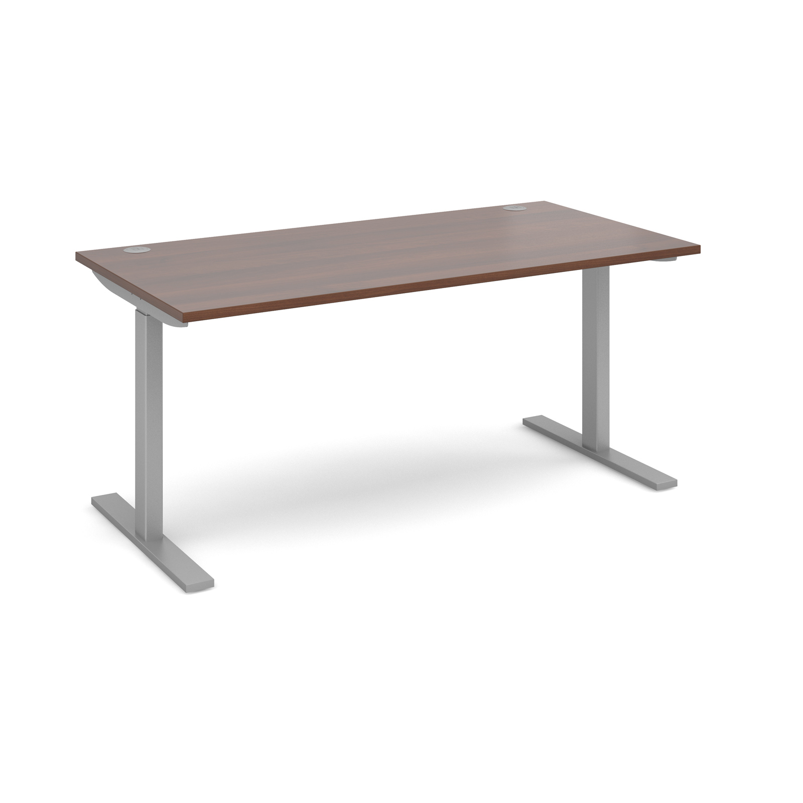 Electric Height Adjule 1600 Wide Sit Stand Desk Silver Frame And Walnut Top