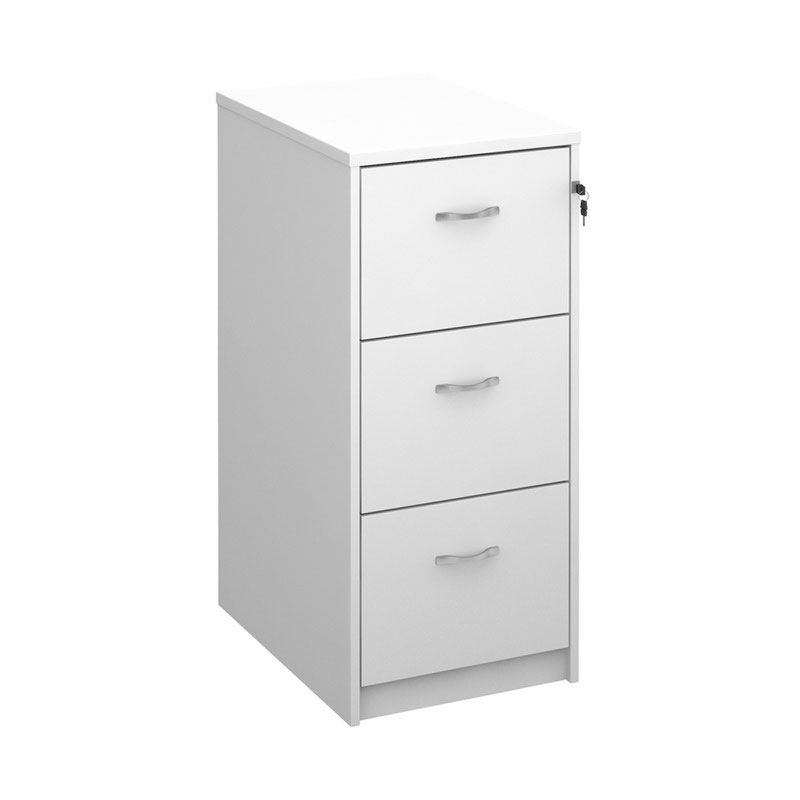 Deluxe 3 Drawer Filing Cabinet With Silver Handles 1045mm High White