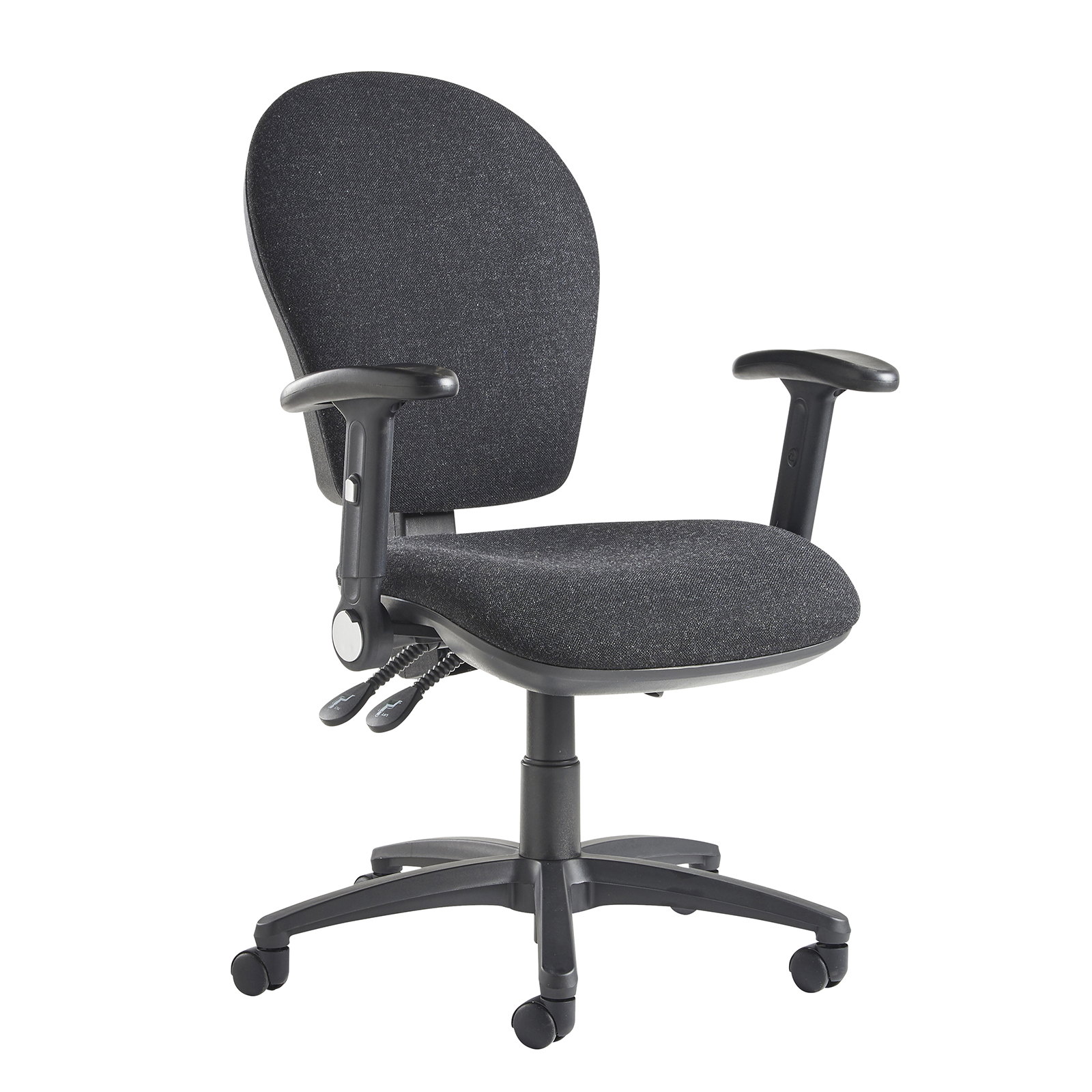 Lento high back operator chair with folding arms charcoal No 1