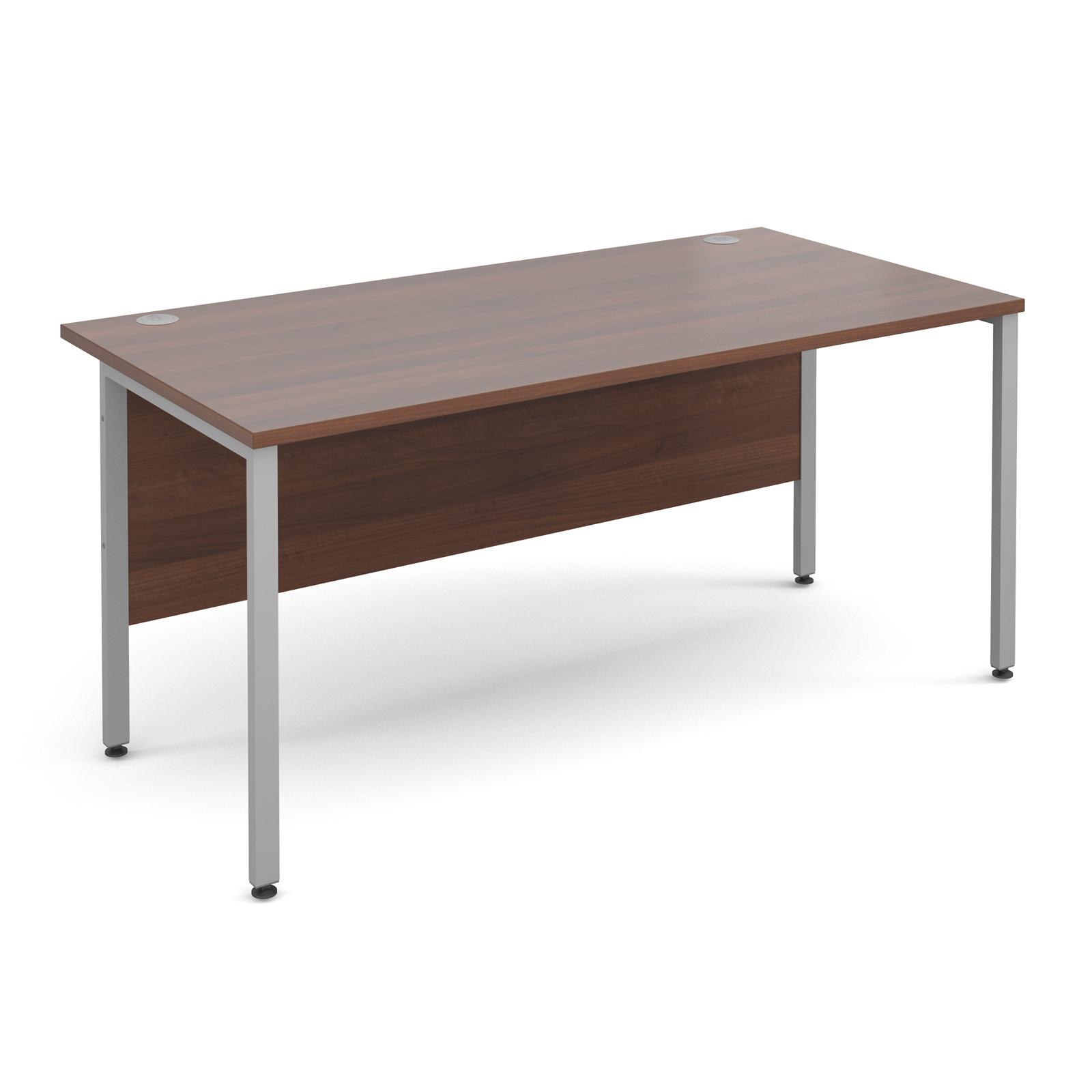 Maestro 25 Sl Straight Desk 1600mm X 800mm Silver H Frame Walnut Top