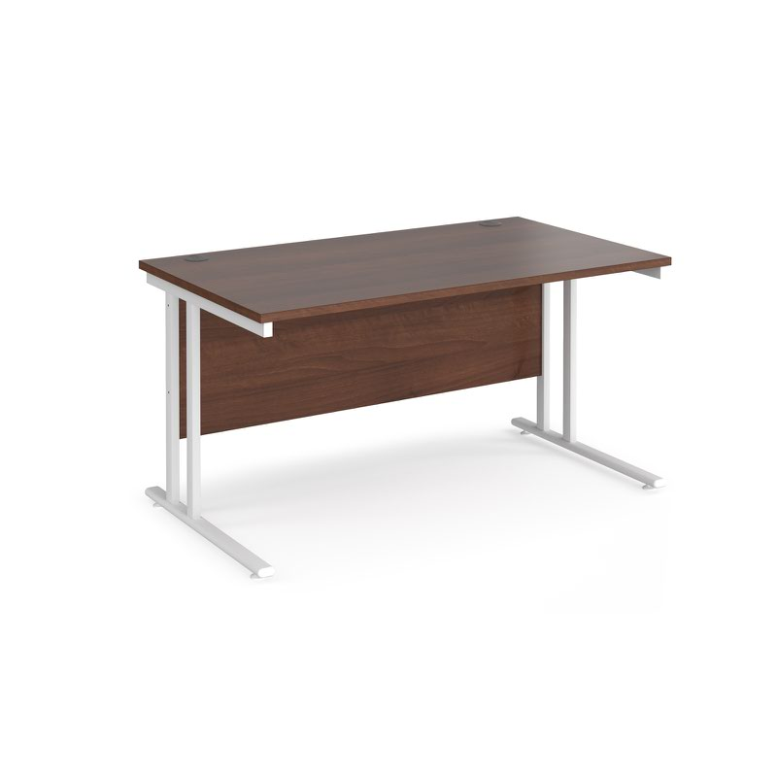 Maestro 25 Wl Straight Desk 1400mm X 800mm White Cantilever Frame Walnut Top