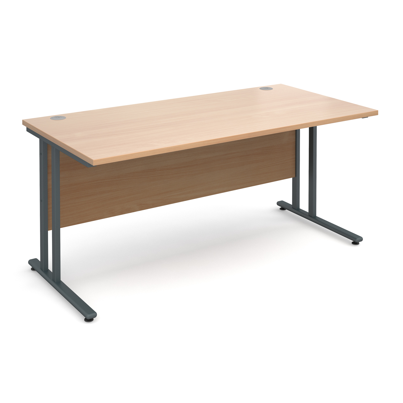 Maestro 25 Gl Straight Desk 1600mm X 800mm Graphite Cantilever Frame Beech Top