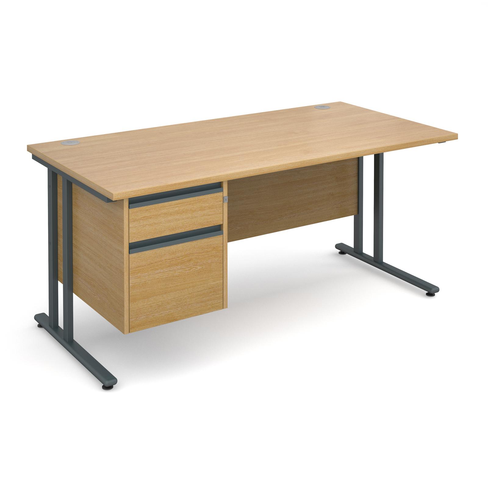 Maestro 25 Gl Straight Desk With 2 Drawer Pedestal 1600mm Graphite Cantilever Frame Oak Top