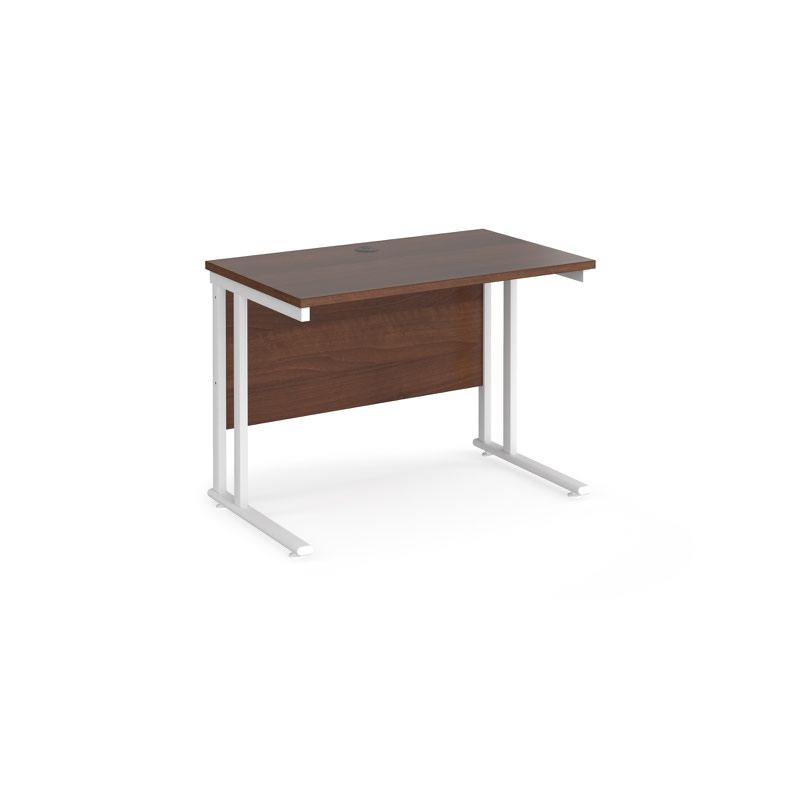 Maestro 25 Wl Straight Desk 1000mm X 600mm White Cantilever Frame Walnut Top