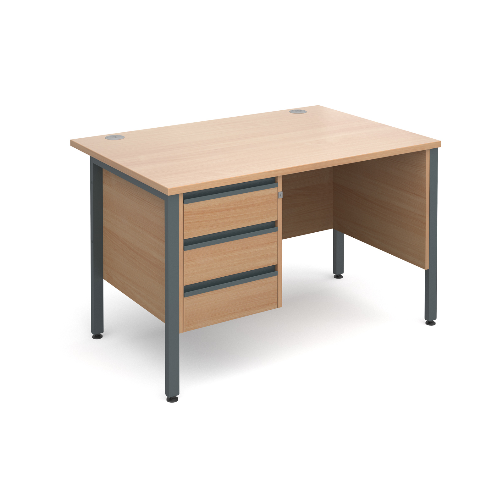 Maestro 25 Gl Straight Desk With 3 Drawer Pedestal 1200mm Graphite H Frame Beech Top