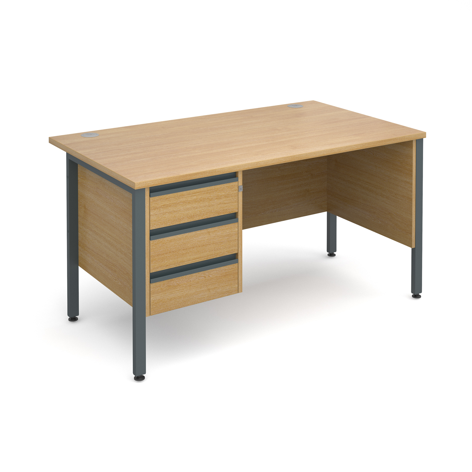 Maestro 25 Gl Straight Desk With 3 Drawer Pedestal 1400mm Graphite H Frame Oak Top