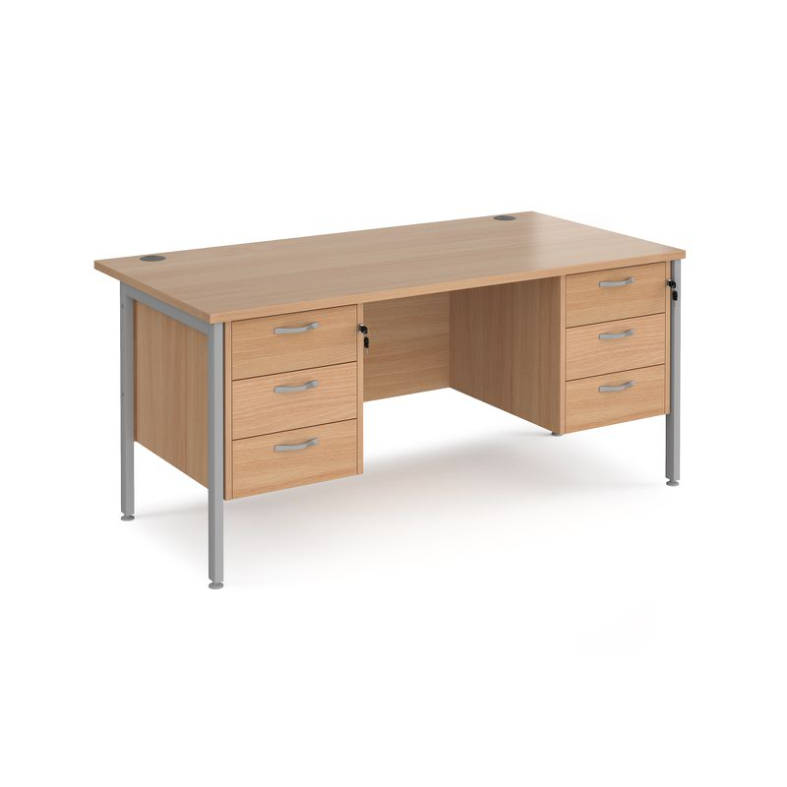 Maestro 25 SL Straight Desk With 3 And Drawer Pedestals 1600mm