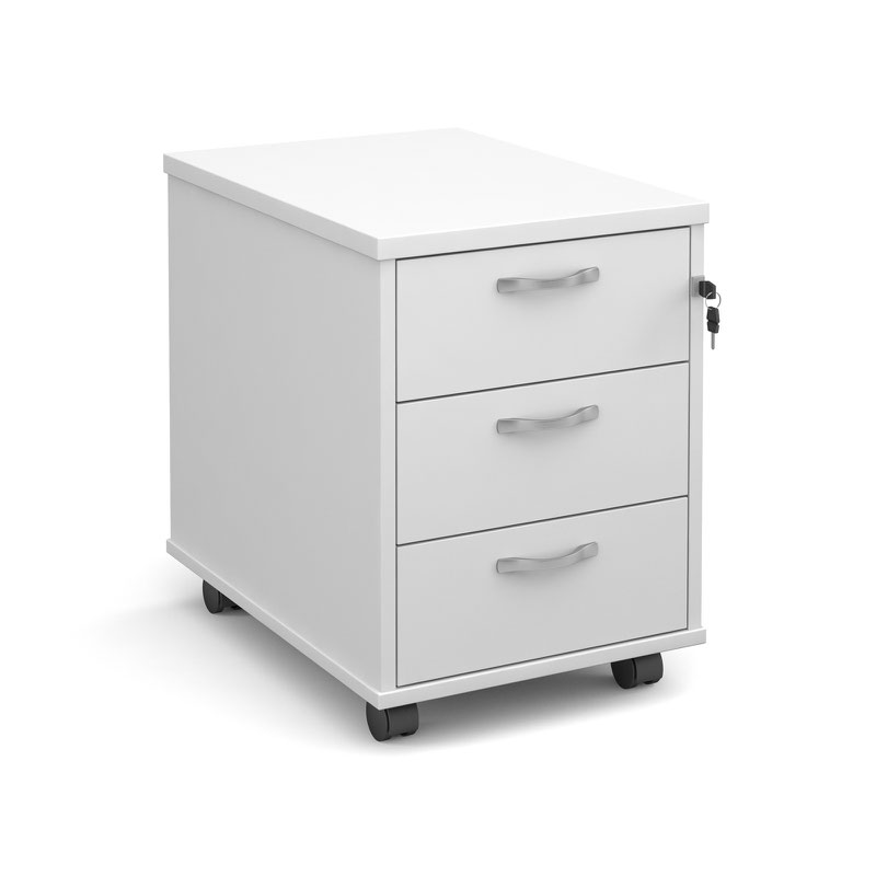Mobile 3 drawer pedestal with silver handles 600mm deep for Mobile furniture