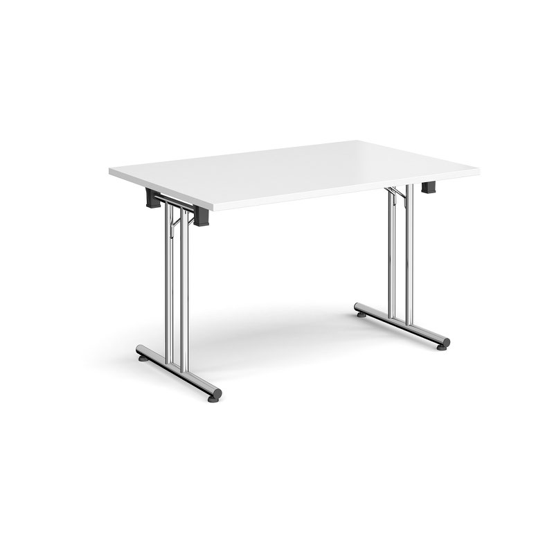 Rectangular Folding Leg Table With Chrome And Straight Foot Rails 1200mm X 800mm White