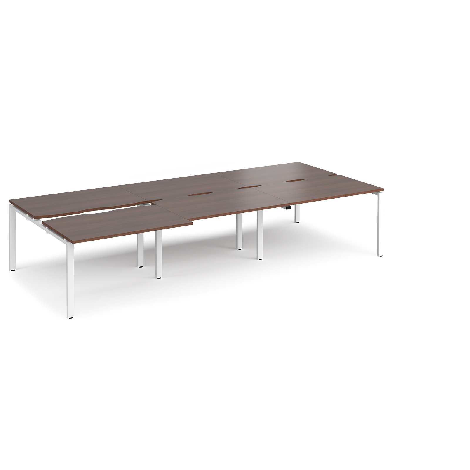 Adapt Ii Sliding Top Triple Back To Desks 3600mm X 1600mm White Frame Walnut