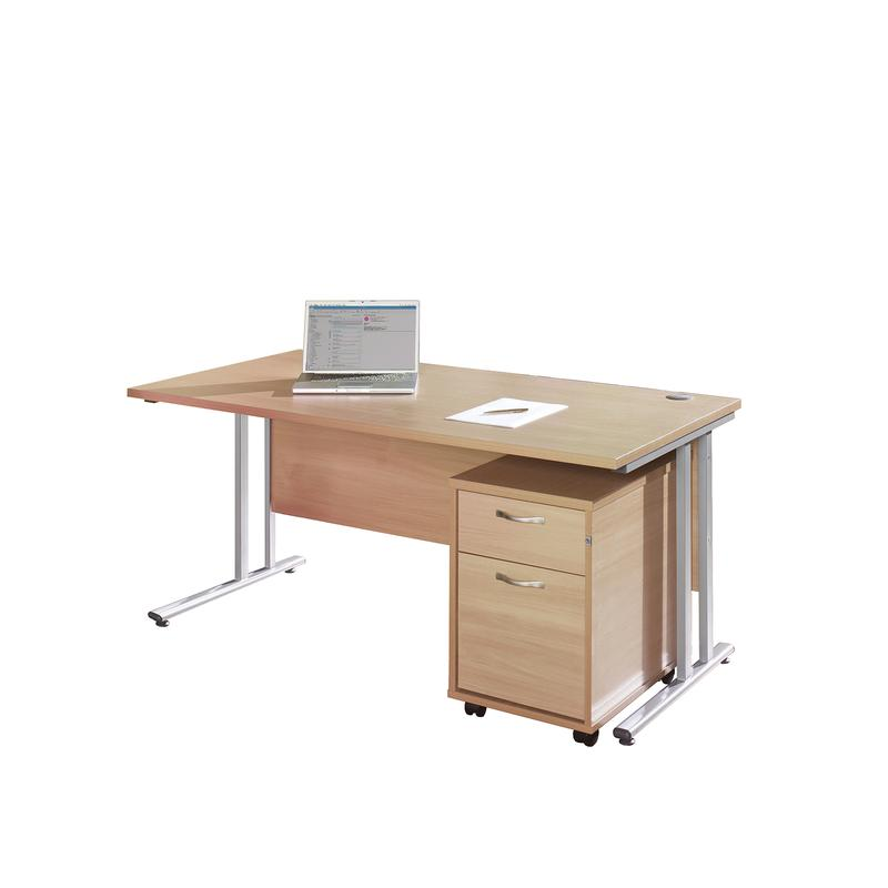 Maestro 25 Sl Straight Desk 1600mm X 800mm With Silver Cantilever Frame And 2 Drawer Pedestal Beech