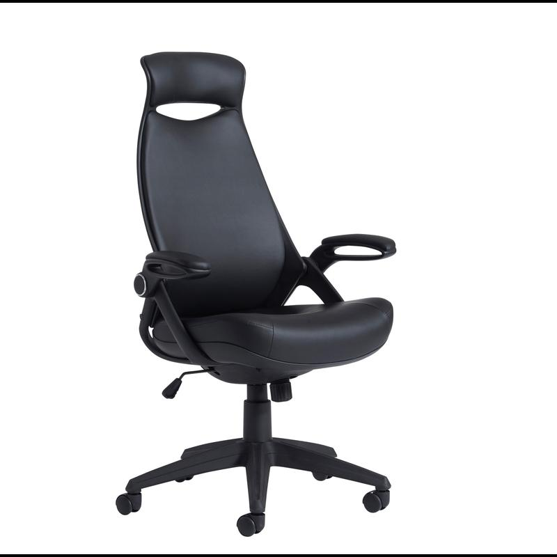 Tuscan high back managers chair with head support black leather